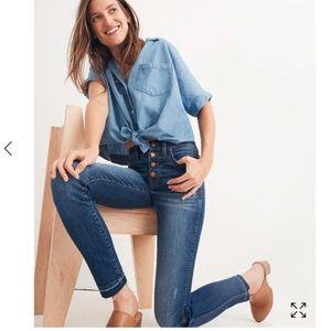 "Madewell 10"" High-Rise Skinny Jeans Drop Hem 24P"